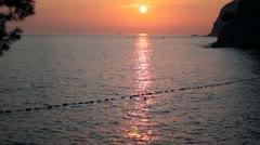 Landscape with Sea Coast Sunset Stock Footage