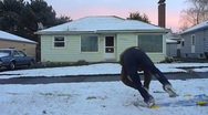Stock Video Footage of Winter Sledding Tumble