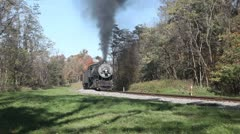 Western Maryland Scenic Railroad 1916 Baldwin locomotive in Autumn Stock Footage