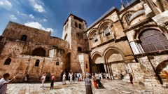 Church of the Holy Sepulchre Jerusalem: The entrance time lapse Stock Footage