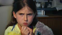 Cute little girl pouting at Dentist Stock Footage