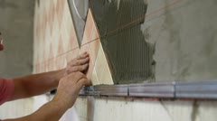 Installing Tiles Stock Footage