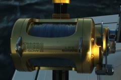 Reel unwinding while fishing for tuna Stock Footage