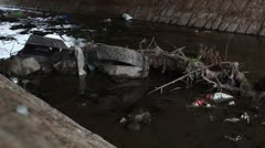 Waste in a polluted creek _1 Stock Footage