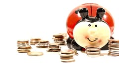 Ladybug Money Box and Coins 02 DOLLY right Stock Footage
