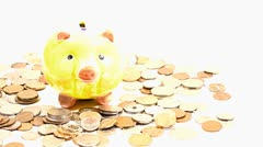 Pig Money Box and Coins 06 DOLLY Stock Footage