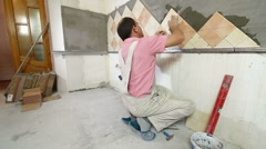 Setting Tile Stock Footage