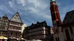 Stock Video Footage of Frankfurt Main Römer square fountain
