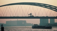 Brienenoord Bridge Rotterdam Sunrise Stock Footage