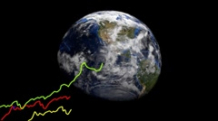 Upward line graphs and rotating Earth animation Stock Footage