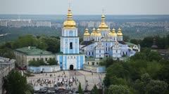 Kiev, Ukraine Aerial View, St Michael's Monastery, St Sophia Square, Traffic Stock Footage