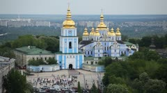 Time Lapse of Kiev, Ukraine Aerial View, St Michael's Monastery, Sophia Square Stock Footage