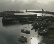 Boats in harbour - stock footage