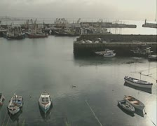 Many boats in harbour - stock footage