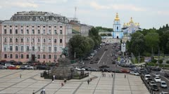 Kiev Skyline, Ukraine Aerial View, St Michael's Monastery, St Sophia Square Stock Footage