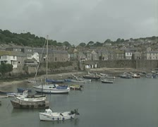Harbour with moored boats Stock Footage