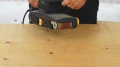 Man Using A Power Sander Stock Footage