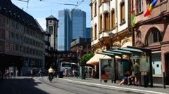 Stock Video Footage of Frankfurt am Main urban traffic near Römer or Romer