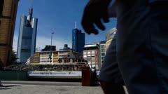 Frankfurt am Main Hauptwache square Zeil, street scene Stock Footage