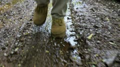 Muddy hike - stock footage