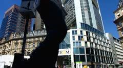 Frankfurt am Main commercial area street scene Stock Footage