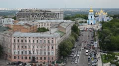Kiev, Ukraine Aerial View, St Michael's Monastery, St Sophia Square, Traffic Stock Footage