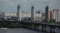 Paton Bridge Connecting Pechersk to the Left Bank, Dnieper River, Kiev, Kyiv Stock Footage