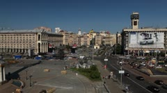 Aerial View of Maidan Nezalezhnosti, Independence Square, Monument Stock Footage