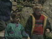 Children walking down steps Stock Footage