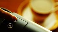 Pressing espresso button of capsule coffee machine Stock Footage