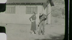 Bonnie and Clyde ROBBERS Gun GANGSTERS 1930s Vintage Film Home Movie - stock footage