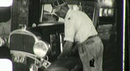 Gas Service Station Attendant Check Oil Tires 1930s Vintage Film Home Movie 1038 Stock Footage