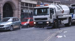 Street Cleaning Vehicle Early Morning Cleaning In Edinburgh Scotland Stock Footage