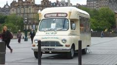 Vintage Ice Cream Van In Edinburgh Scotland UK Stock Footage