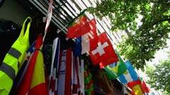 Multi national flags on display Stock Footage