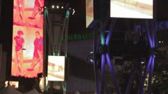 Nokia Center light tower, video screens and spotlights - stock footage