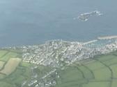 Aerial of coastal village Stock Footage