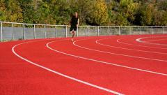 Male sprinter curve Stock Footage