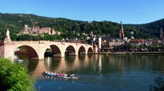 Heidelberg skyline old bridge with Neckar river Stock Footage