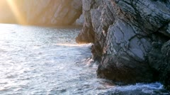 Afternoon Sun at the Rocky Seashore Stock Footage