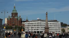 Helsinki Cityscape, Finland, Uspenski Cathedral, Market Square, Swedish Embassy Stock Footage