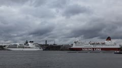 Helsinki Harbour, Cruise Ship Maneuver, Finland, Uspenski Cathedral Stock Footage
