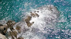 Waves Crash on Rocks Stock Footage