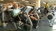 Stock Video Footage of Elderly people on cardio machines 2
