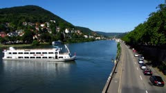 Heidelberg tour boat on Neckar river Stock Footage