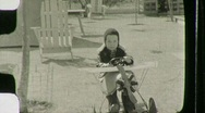 Little Boy Plays with Pedal Plane Circa 1939 (Vintage Film Home Movie) 1051 Stock Footage