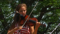 Violin Player at Outdoor Concert Stock Footage