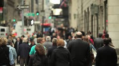 Crowd people walking pedestrian new york city cloudy ny nyc Stock Footage