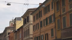 Beautiful architecture Bologna old town Italy traditional residential facade day Stock Footage