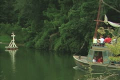 Tourists in boat Stock Footage
